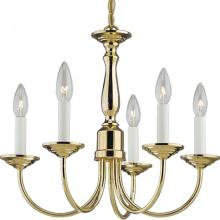 Progress P4009-10 - Five Light Polished Brass White Finish Candle Sleeves Glass Up Chandelier