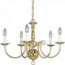 Progress P4346-10 - Five Light Polished Brass White Finish Candle Sleeves Glass Up Chandelier
