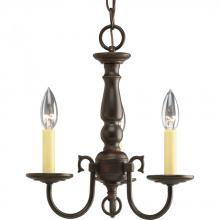 Progress P4354-20 - Three Light Antique Bronze Ivory Finish Candle Sleeves Glass Up Chandelier