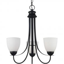 Sea Gull 31270-839 - Uptown Three Light Chandelier in Blacksmith Finish with Satin Etched Glass