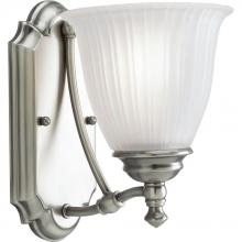 Progress P3016-81 - One Light Antique Nickel Etched Glass Bathroom Sconce